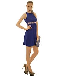 JOANNE KITTEN Women's Sexy / Vintage Solid A Line / Sheath Dress, Round Neck Above Knee Polyester / Spandex