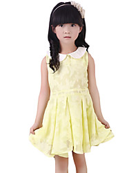 Girl's Going out Solid Dress,Others Summer Green / Pink / Yellow