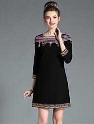 Vestidos femininos/ inverno/ elegante/ bordado/ vários tamanho/ tamanho grande/ borla étnica/ vestido com mangas 3/4