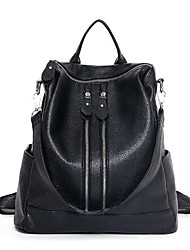 Women PU Sports  Casual Outdoor Backpack Pure Color Washed Leather Students Double Zipper Bags