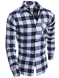 Men's Plaids Work / Formal Shirt,Cotton / Polyester Long Sleeve Gray
