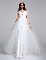 LAN TING BRIDE A-line Wedding Dress Vintage Inspired Chapel Train V-neck Tulle with Appliques