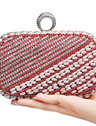 L.WEST Women's The Elegant Luxury Handmade Pearl Diamonds Evening Bag