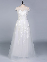 A-line Wedding Dress Floor-length Jewel Satin / Tulle with Appliques