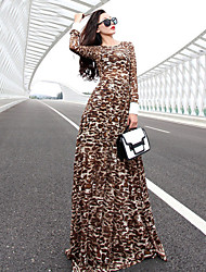 Women's Casual / Day Leopard Swing Dress , Round Neck Maxi Polyester