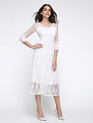 Dentelle Robe Femme Soirée / Cocktail Sophistiqué,Couleur Pleine Col en U Maxi Manches ¾ Blanc Coton Polyester Nylon Eté Taille Normale