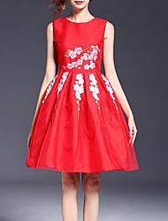 Women's Party Sophisticated A Line / Sheath Dress,Floral Round Neck Knee-length Sleeveless Red Rayon Summer