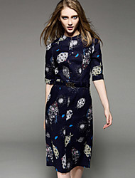 KMDMWomen's Simple Print Loose Dress,Round Neck Knee-length Nylon