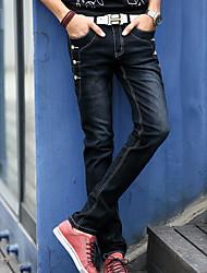 Herren Jeans-Einfarbig Freizeit Baumwolle Schwarz / Grau