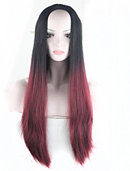 destaques 28inch Borgonha preto peruca ombre para as mulheres aquecer o cabelo longo sintética resistente reta Perucas sintetico