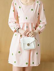 Ample Robe Maternité Décontracté / Quotidien simple,Points Polka Col Arrondi Au dessus du genou Manches ¾ Rose / Vert Polyester Eté