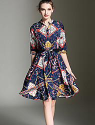 Women's Going out Vintage A Line Dress,Print Asymmetrical Knee-length ½ Length Sleeve Blue Cotton Summer