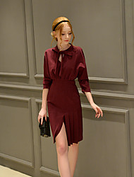 Women's Going out / Formal / Party/Vintage / Sophisticated Bodycon / Sheath Dress, V Neck Above Knee ¾ Sleeve