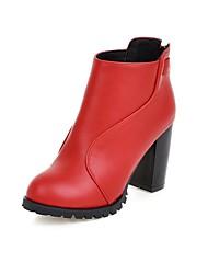 Women's Boots Fall / Winter Fashion Boots Leatherette Dress Chunky Heel Zipper Black / Red / White Walking