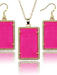 la joyería fluorescente conjunto rectángulo mujeres fluorescentes 2pcs las mujeres sistema del jewlery joyería de moda 2016