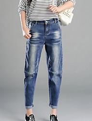 Da donna Jeans Pantaloni-Semplice Casual Tinta unita Cotone Micro-elastico All Seasons