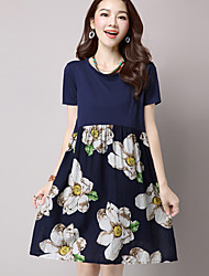 Women's Plus Size / Formal / Holiday Simple A Line Dress,Floral Round Neck Knee-length Short Sleeve Blue Linen Summer / Fall