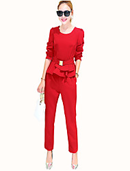 Women's Casual/Daily Vintage All Seasons Set Pant,Solid Round Neck Long Sleeve Red / Black Polyester Medium