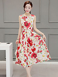 Women's Going out Cute A Line Dress,Print Round Neck Midi Short Sleeve Red Rayon Summer