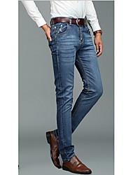 Masculino Jeans Formal Cor Solida Algodão Azul