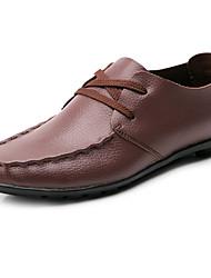 Herren-Flache Schuhe-Lässig-Nappaleder-Flacher AbsatzSchwarz Braun