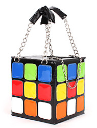 Women Light-colored Leather Casual Outdoor Shopping Tote Lovely Multicolored Cube Square Handbag