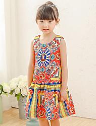 Girl's Cotton Spring/Autumn National Wind Printing Sundress Sleeveless Princess Dress