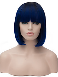 vogue européen courte perruque soignée sythetic noir ombre bleu bang parti pour les femmes