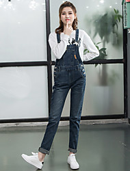 Sign new non-elastic patch pocket loose denim strap trousers female
