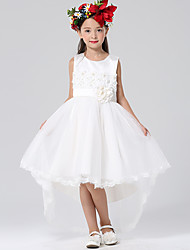 Ball Gown Asymmetrical Flower Girl Dress - Satin / Tulle Sleeveless Jewel with Appliques / Flower(s)