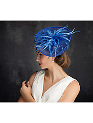 Women's Feather Tulle Flax Net Headpiece-Special Occasion Fascinators 1 Piece
