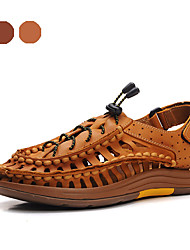 Men's Shoes Outdoor / Casual Nappa Leather Sandals Brown / Gold
