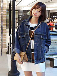 Women's Casual/Daily Simple Spring / Fall Denim Jackets,Solid Shirt Collar Long Sleeve Blue Polyester Medium