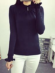 Normal Pullover Femme Décontracté / Quotidien simple,Couleur Pleine / Mosaïque Rouge / Blanc / Noir / Gris Col Roulé Manches Longues