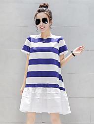 Mujer Corte Ancho Vestido Casual/Diario Simple,A Rayas Escote Redondo Sobre la rodilla Manga Corta Azul Algodón Verano Elástico Opaco