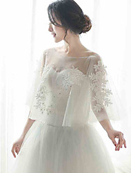 Women's Wrap Capelets Sleeveless Tulle Ivory Wedding / Party/Evening Scoop Appliques / Rhinestone Pullover