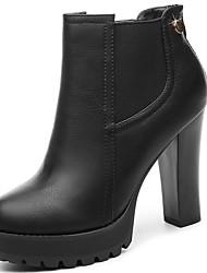 Черный / Красный-Женский-Для офиса / На каждый день-Синтетика-На толстом каблуке-На каблуках-Обувь на каблуках