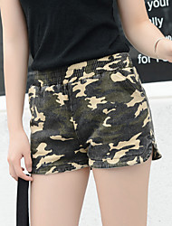 Women's Camouflage Green / Yellow Shorts Pants,Simple