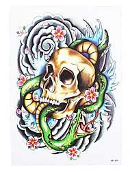 1pc Waterproof Fake Temporary Tattoo Sticker Flower Body Art Skull Snake Wave Design Tattoo for Women Men HB-364
