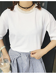 Women's Going out / Casual/Daily Simple / Cute T-shirt,Solid Round Neck Short Sleeve Pink / White Cotton Medium
