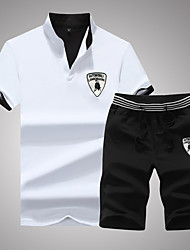 Running Clothing Sets/Suits Men's Short Sleeve Breathable Polyester Fitness / Leisure Sports