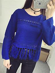 Damen Kurz Pullover-Lässig/Alltäglich Street Schick Solide Blau / Schwarz Rundhalsausschnitt Langarm Baumwolle Herbst Mittel