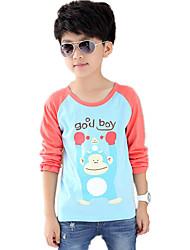 Boy's Wild Round Collar Casual/Daily Color Block Cartoon Print Long Sleeve Cottom Tee/T-shirt