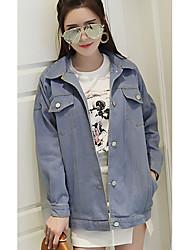 Giacche di jeans Da donna Per uscire / Casual Semplice / Romantico Primavera / Autunno,Tinta unita Colletto Altro Blu Manica lungaMedio