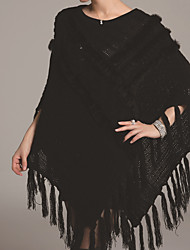 Daily Simple Long Cloak / Capes,Solid Beige / Black Round Neck ½ Length Sleeve Rabbit Fur Fall / Winter