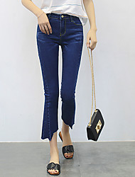 Women's Solid Blue Jeans / Slim Pants,Simple