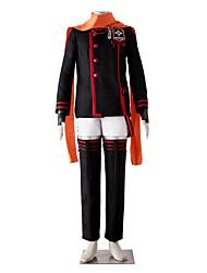 geinspireerd door D.Gray-man Lavi Bookman Jr. Anime Cosplay Kostuums Cosplay Kostuums Effen Zwart / Rood Lange mouwJas / Broeken / Riem /