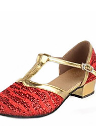 Latin Kid's Dance Shoes Sandals Paillette Cuban Heel Gold/Red