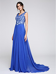 TS Couture Formal Evening Dress - Beautiful Back A-line V-neck Court Train Chiffon with Appliques