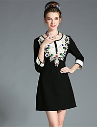 AOFULI Plus Size Women Clothing Vintage Luxury Bead Embroidered Hollow Lace Black and White Color Block Dress